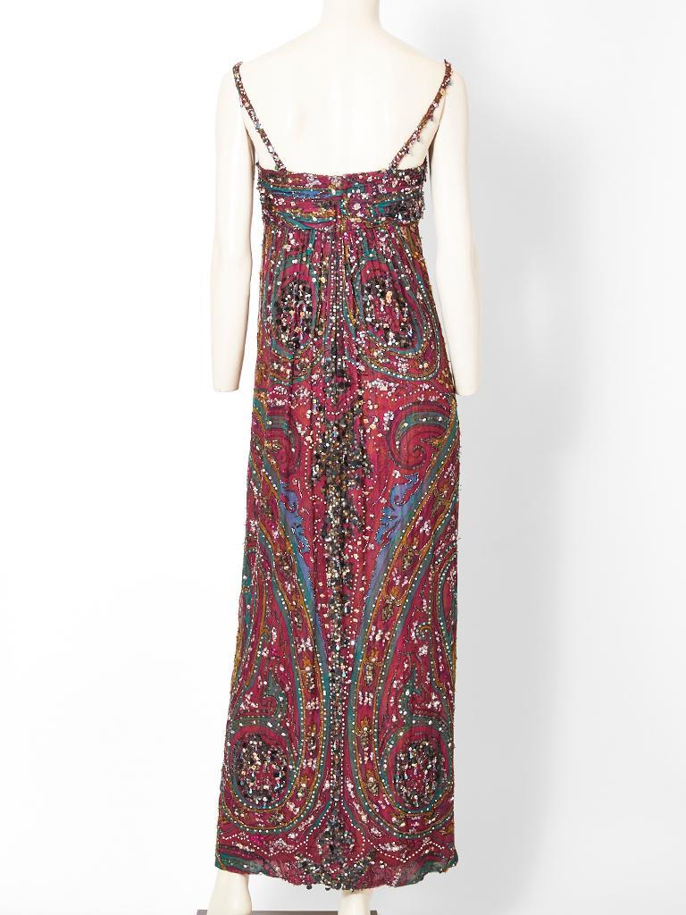 Women's Galanos  Paisley Pattern Beaded Gown For Sale