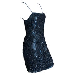 Galanos Superb Sequin and Hand Beaded Lace Little Black Mini Dress