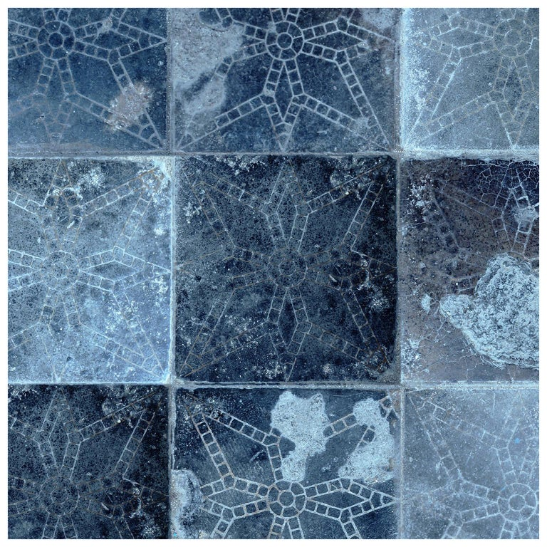 Galaxia Tile Print Wallpaper In Blue Moon Colorway For