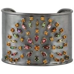 Galaxy 3.63 Carat Tourmaline Citrine Amethyst Statement Cuff