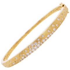 Galaxy Diamond Bracelet, .83 Carat, 14 Karat Gold, Confetti, Bangle, Brushed
