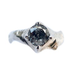 Galaxy Diamond Solitaire Ring in 14 Karat White Gold
