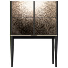 Davidson's Modern, Galaxy Drinks Cabinet, in Sycamore Black and Gilded Bronze