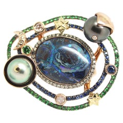 Tahitian Pearl 18K Rose Yellow Gold Galaxy Opal Diamond Sapphire Cocktail Ring