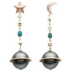 18K Rose Gold Tahitian Pearl Diamond Sapphire Opal Planet Moon Stars Earrings