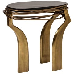 Galaxy Side Table Large in Black Pen Shell and Bronze-Patina Brass by Kifu Paris