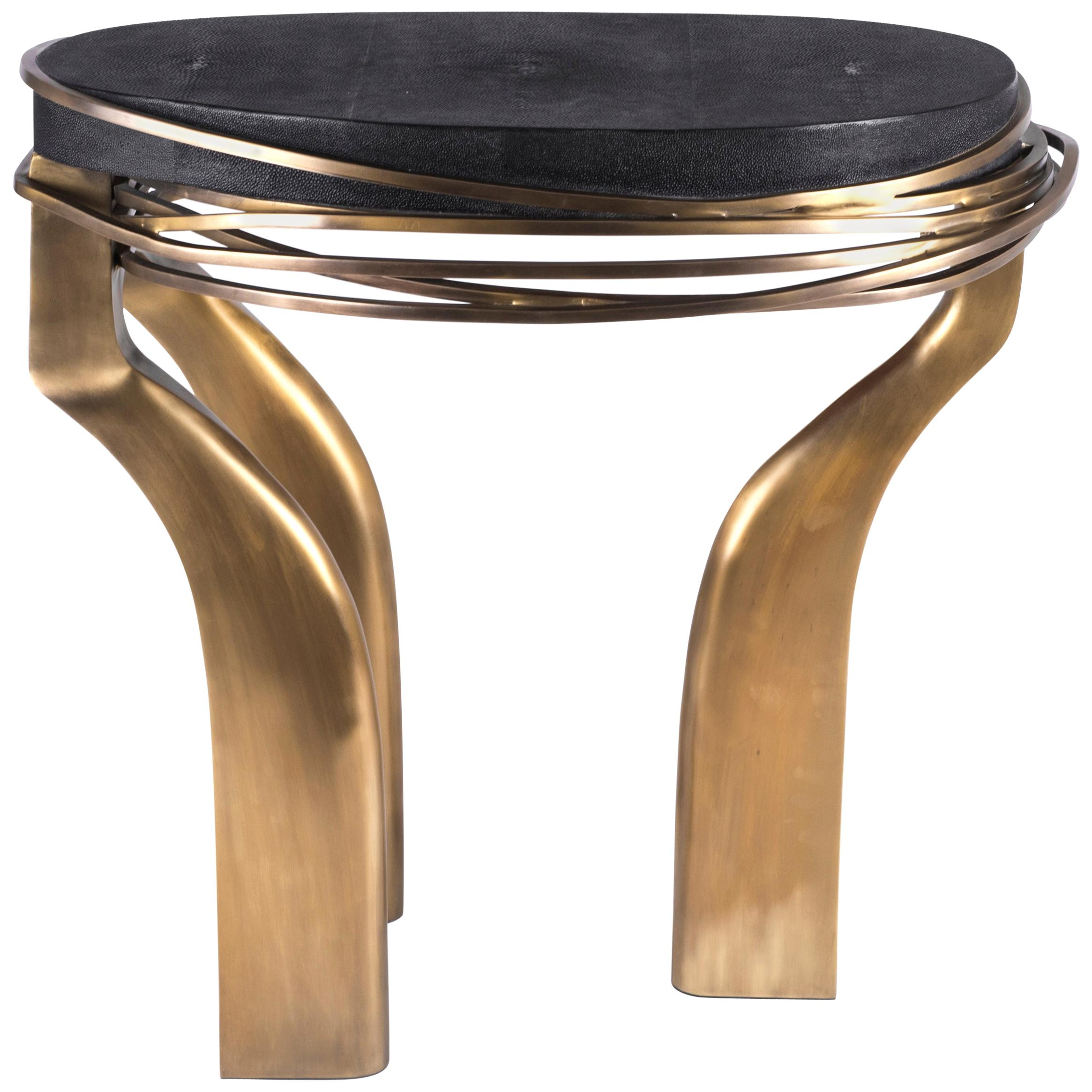 Galaxy Side Table Large in Black Shagreen and Bronze-Patina Brass by Kifu, Paris