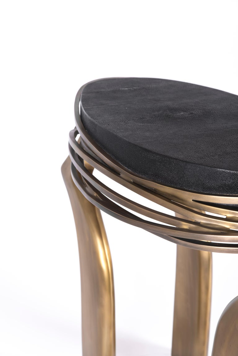 Galaxy Side Table Large in Hwana, Shagreen and Brass by Kifu, Paris For Sale 3