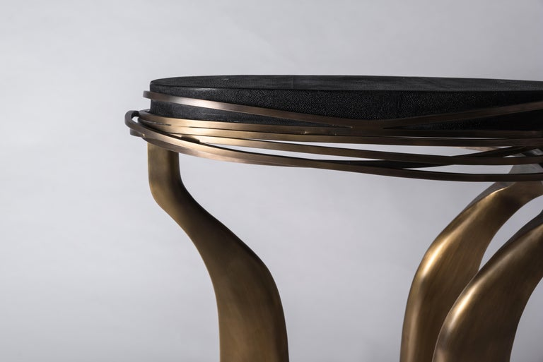 Galaxy Side Table Large in Hwana, Shagreen and Brass by Kifu, Paris For Sale 5