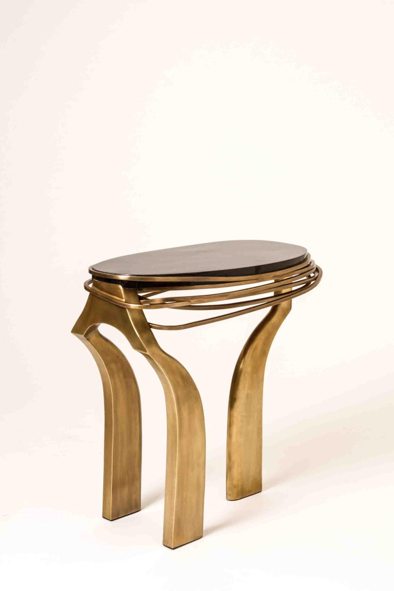 Galaxy Side Table Large in Hwana, Shagreen and Brass by Kifu, Paris For Sale 6