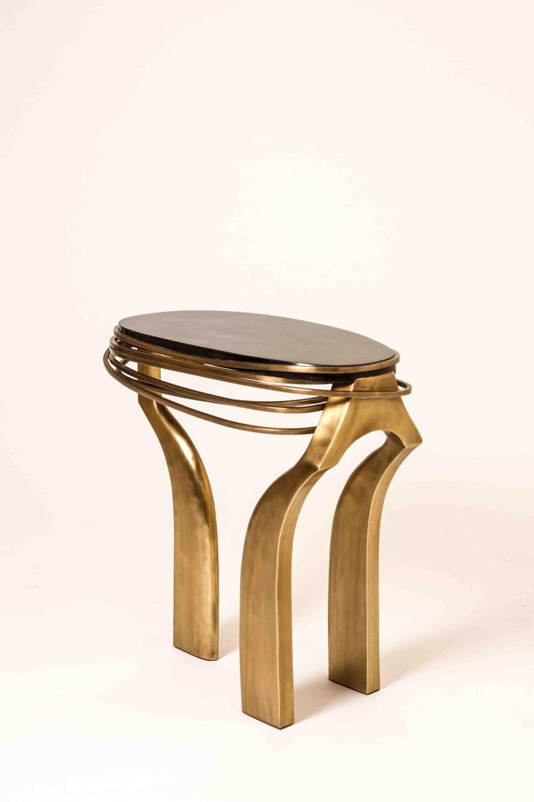 Galaxy Side Table Large in Hwana, Shagreen and Brass by Kifu, Paris For Sale 7