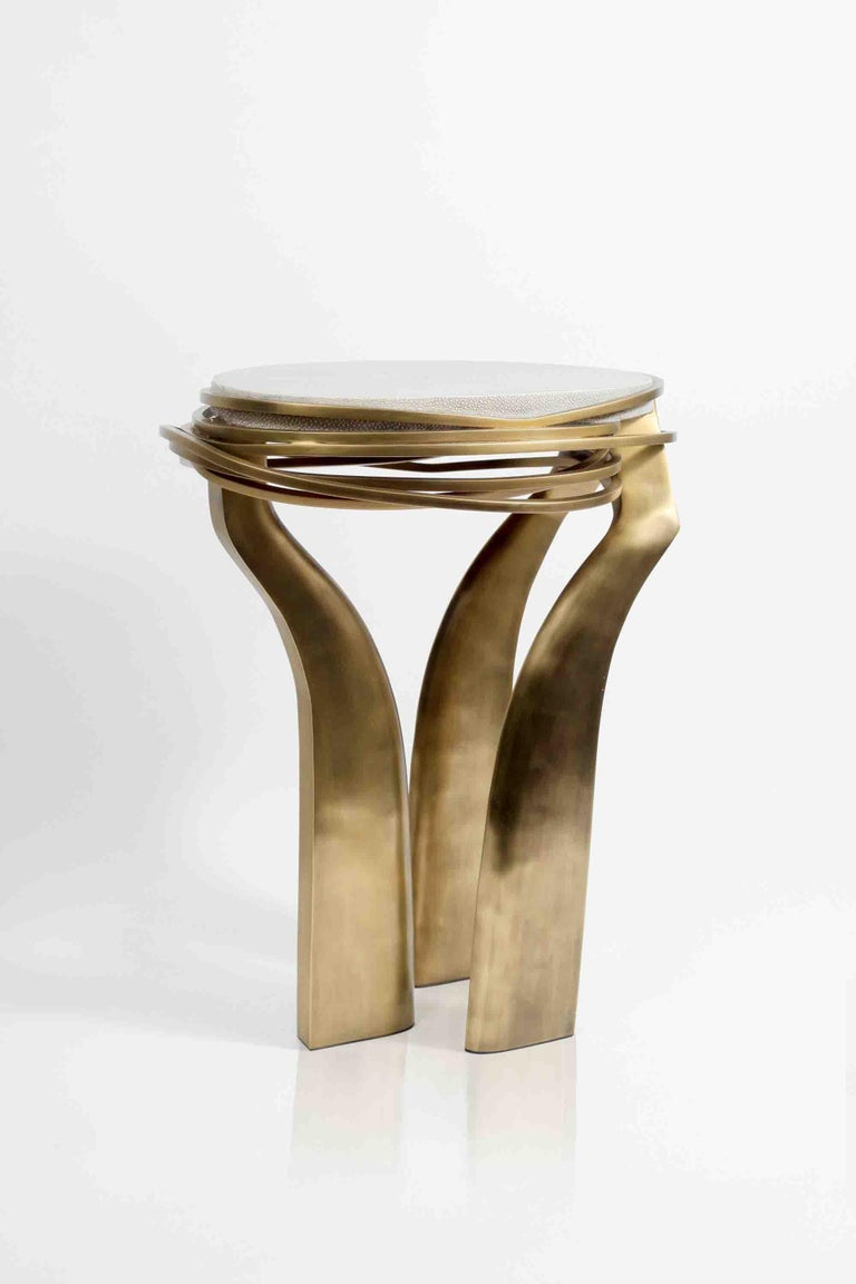 Galaxy Side Table Large in Hwana, Shagreen and Brass by Kifu, Paris For Sale 8