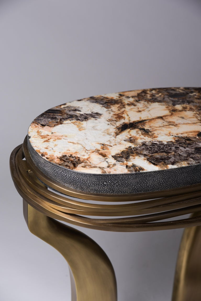 Art Deco Galaxy Side Table Large in Hwana, Shagreen and Brass by Kifu, Paris For Sale