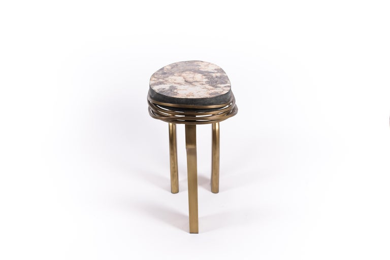 French Galaxy Side Table Large in Hwana, Shagreen and Brass by Kifu, Paris For Sale