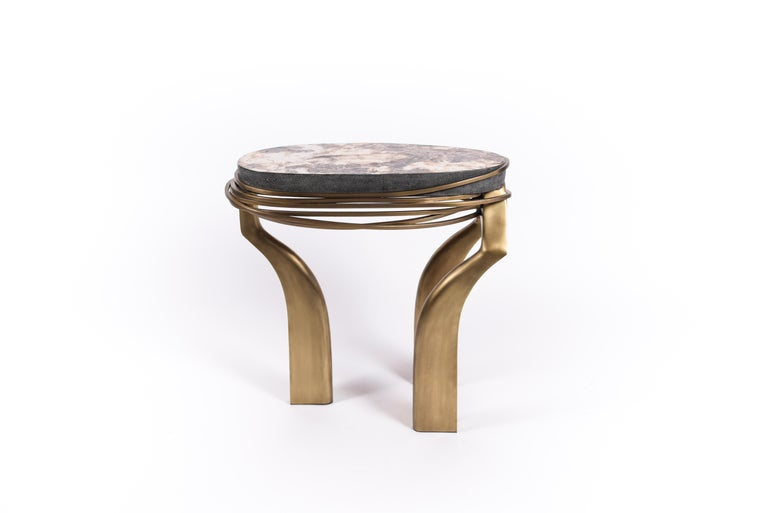 Hand-Crafted Galaxy Side Table Large in Hwana, Shagreen and Brass by Kifu, Paris For Sale
