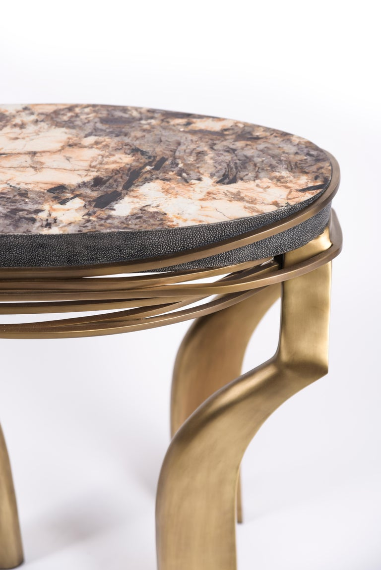 Galaxy Side Table Large in Hwana, Shagreen and Brass by Kifu, Paris In New Condition For Sale In New York, NY
