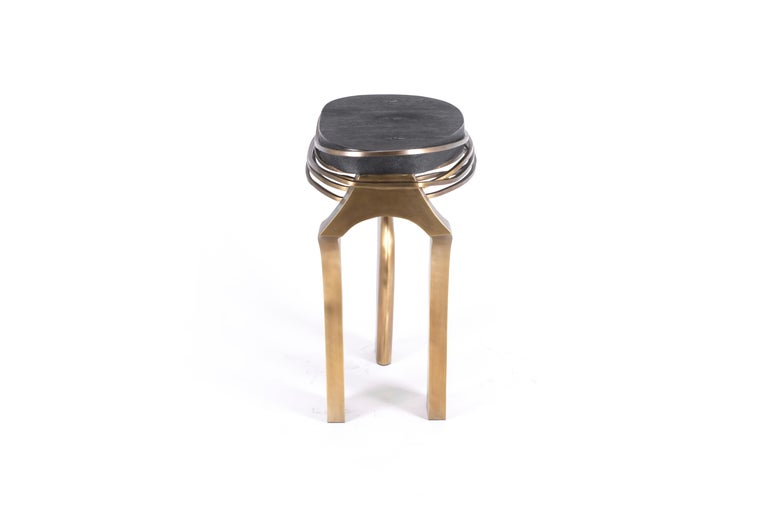 Galaxy Side Table Large in Hwana, Shagreen and Brass by Kifu, Paris For Sale 1