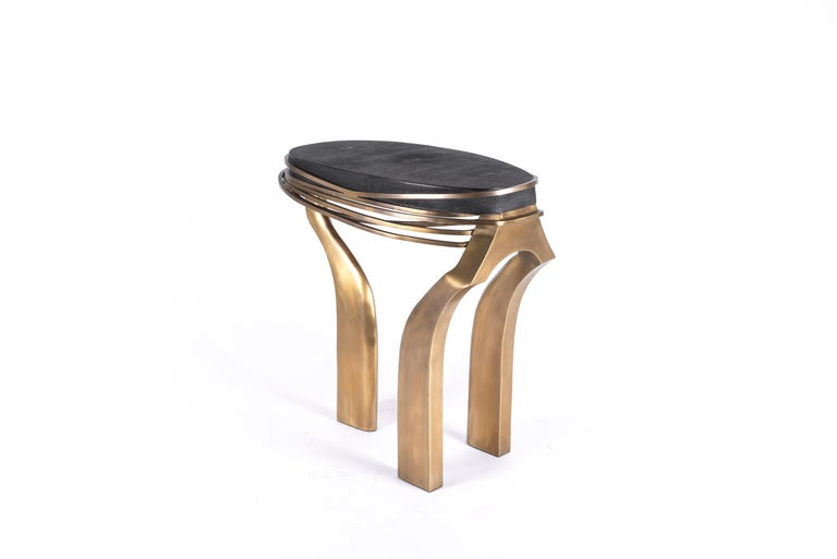 Galaxy Side Table Large in Hwana, Shagreen and Brass by Kifu, Paris For Sale 2