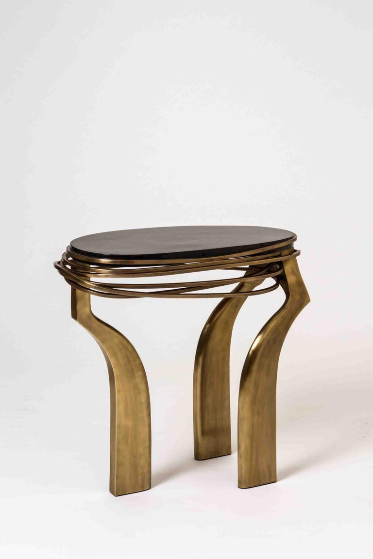 Galaxy Side Table Small in Black Shagreen and Bronze-Patina Brass by Kifu Paris For Sale 1