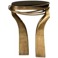 Galaxy Side Table Small in Black Shagreen and Bronze-Patina Brass by Kifu Paris