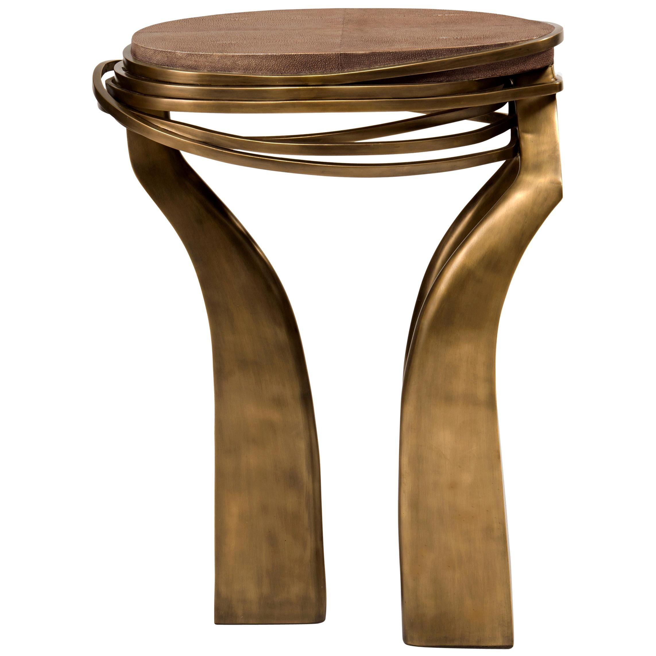 Galaxy Side Table Small in Brown Shagreen and Bronze-Patina Brass by Kifu Paris