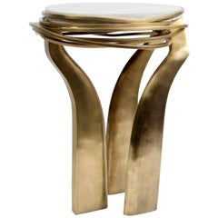 Galaxy Side Table Small in Cream Shagreen and Bronze-Patina Brass by Kifu Paris