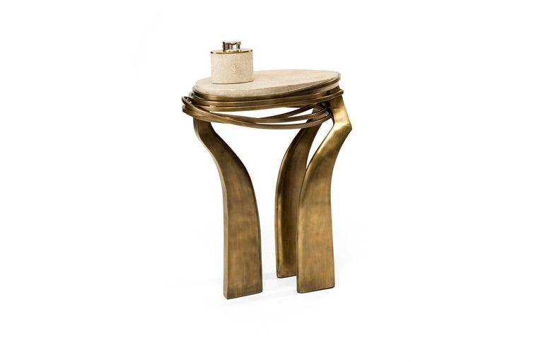Art Deco Galaxy Side Table Small in Cream Shagreen & Bronze-Patina Brass by Kifu Paris For Sale