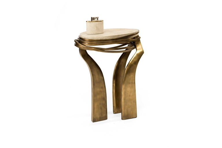 Art Deco Galaxy Side Table Small in Cream Shagreen and Bronze-Patina Brass by Kifu Paris For Sale