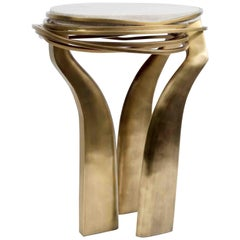 Galaxy Side Table Small in Cream Shagreen & Bronze-Patina Brass by Kifu Paris