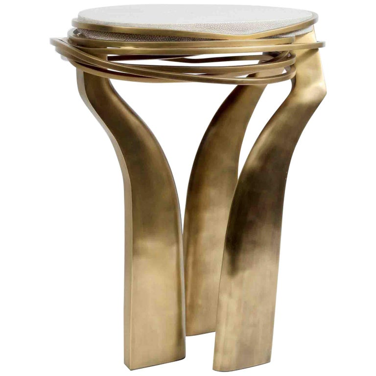 Galaxy Side Table Small in Cream Shagreen & Bronze-Patina Brass by Kifu Paris For Sale