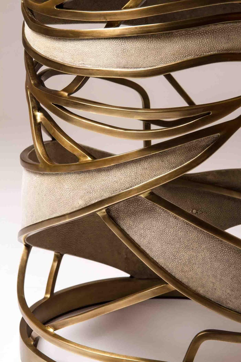 Contemporary Galaxy Stool/Side Table in Cream Shagreen and Bronze-Patina Brass by Kifu, Paris For Sale