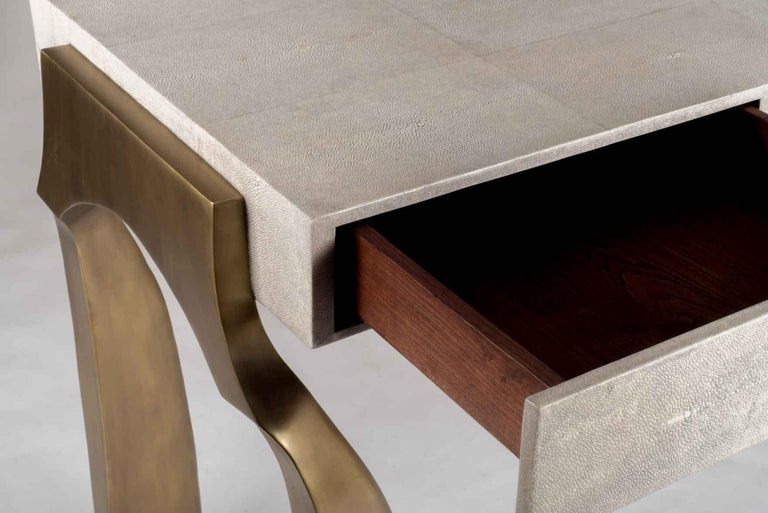 Hand-Crafted Galaxy Writing Desk in Cream Shagreen and Bronze-Patina Brass by Kifu Paris For Sale
