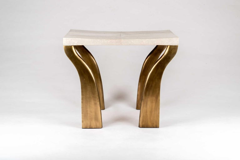Contemporary Galaxy Writing Desk in Cream Shagreen and Bronze-Patina Brass by Kifu Paris For Sale
