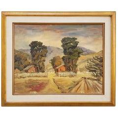 Galen Wolf Original California Oil Painting Barns and Eucalyptus Trees