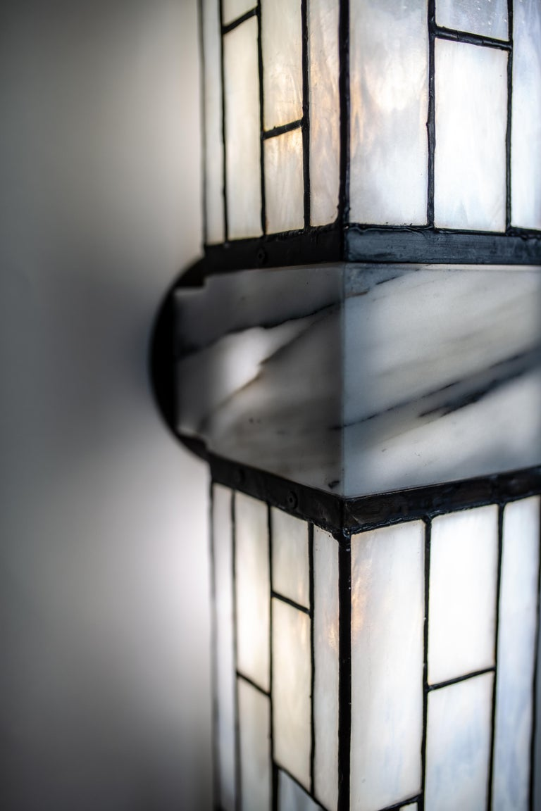 Galena, Brass, Marble, Glass Contemporary Wall Sconce, Kalin Asenov For Sale 5