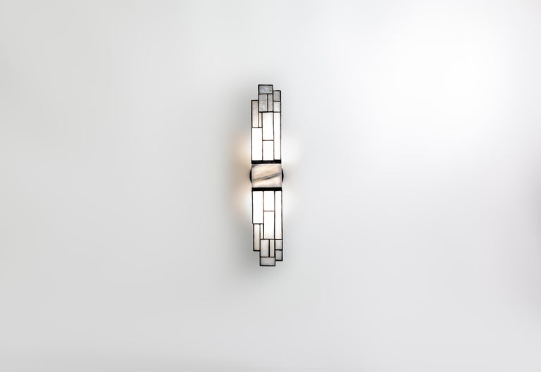 Modern Galena, Brass, Marble, Glass Contemporary Wall Sconce, Kalin Asenov For Sale