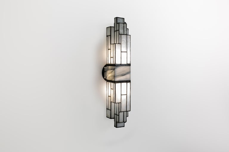 American Galena, Brass, Marble, Glass Contemporary Wall Sconce, Kalin Asenov For Sale