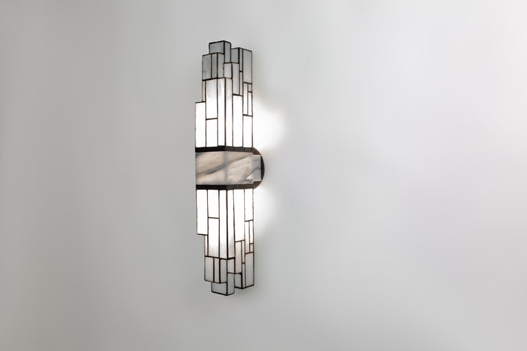 Galena, Brass, Marble, Glass Contemporary Wall Sconce, Kalin Asenov In New Condition For Sale In Savannah, GA