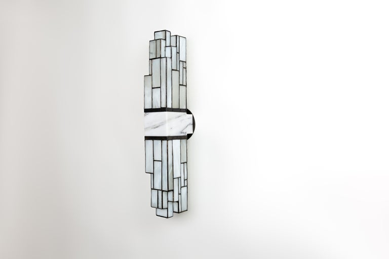 Art Glass Galena, Brass, Marble, Glass Contemporary Wall Sconce, Kalin Asenov For Sale