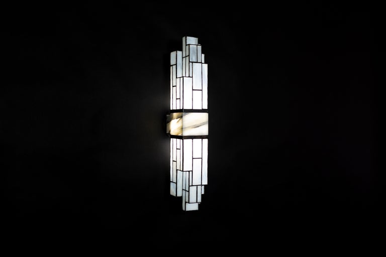 Galena, Brass, Marble, Glass Contemporary Wall Sconce, Kalin Asenov For Sale 2