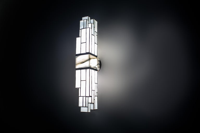 Galena, Brass, Marble, Glass Contemporary Wall Sconce, Kalin Asenov For Sale 3