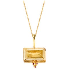 Galene Pendant in Citrine, 18 Karat Yellow Gold