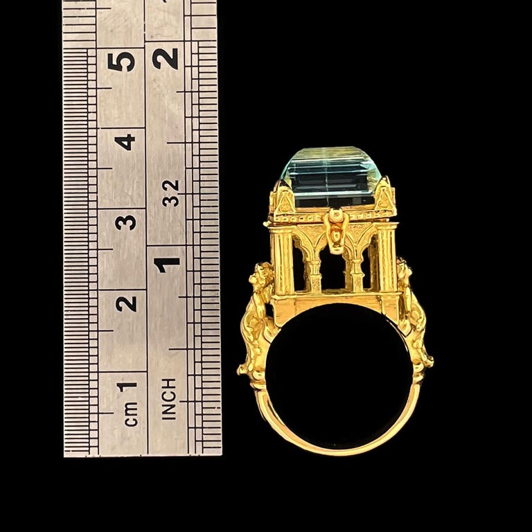 Galerie des Glaces Cathedral Poison Ring in 18 Karat Yellow Gold with Aquamarine 9