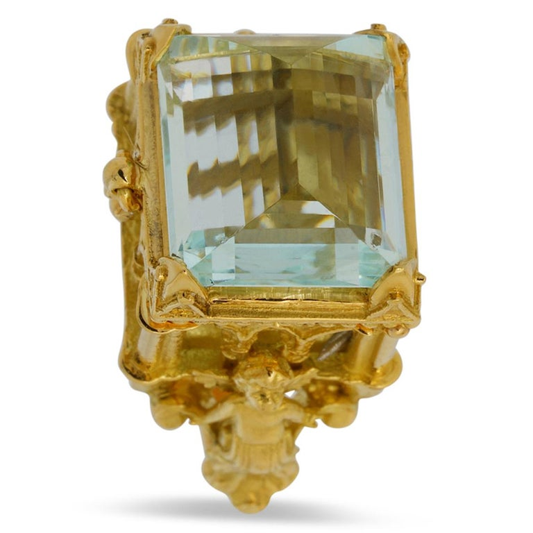 Gothic Revival Galerie des Glaces Cathedral Poison Ring in 18 Karat Yellow Gold with Aquamarine