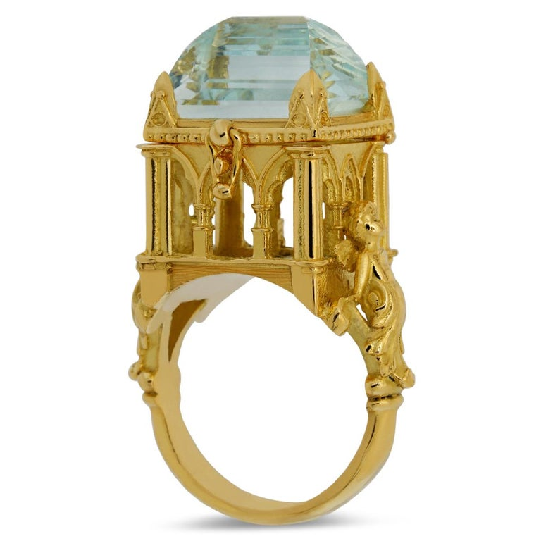Emerald Cut Galerie des Glaces Cathedral Poison Ring in 18 Karat Yellow Gold with Aquamarine