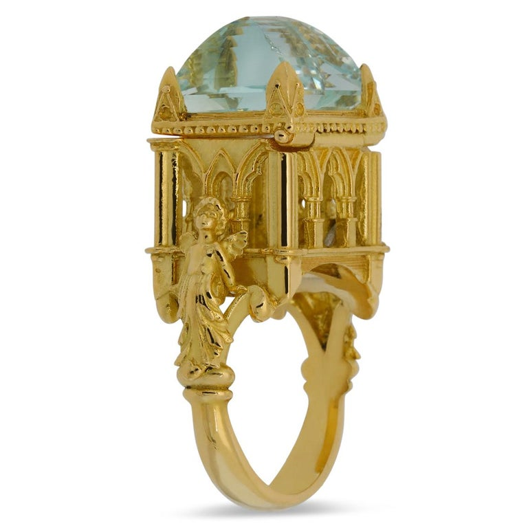 Galerie des Glaces Cathedral Poison Ring in 18 Karat Yellow Gold with Aquamarine In New Condition In Melbourne, Vic