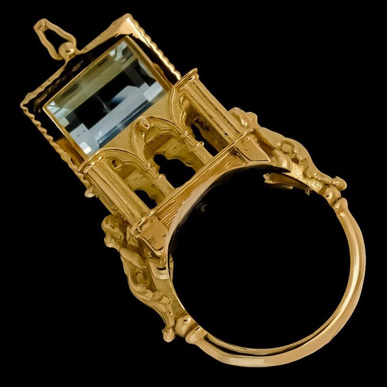 Galerie des Glaces Cathedral Poison Ring in 18 Karat Yellow Gold with Aquamarine 3