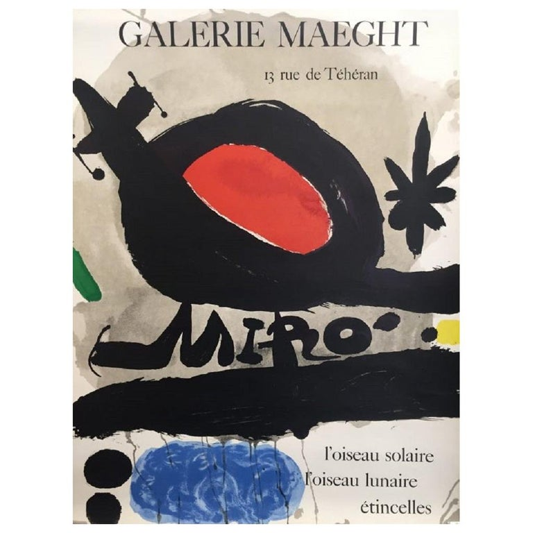 Vintage Poster Origianl Galerie Maeght Miro Modern Art Design Exhibition  For Sale