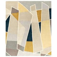 Galeries Lafayette, Geometric Designer Hand Knotted Wool Silk Rug