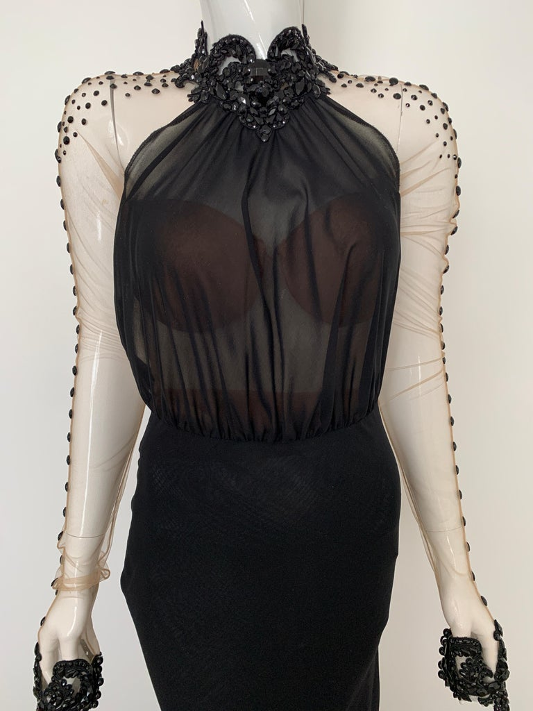 Galia Lahav Haute Couture Black Beaded Gown  In Good Condition In Los Angeles, CA